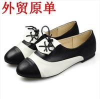 Brockden fashion preppy style black and white color block decoration single shoes fashion all-match women's shoes plus size