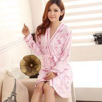 Women Spring Summer Long-sleeved Robe Cotton Nightgown Sleep Skirt Two-piece Pajamas Sleepwear Nightdress Sleepskirt