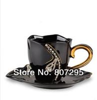 Free shipping coffee mug and saucer with crystal diamond lovers mug wedding gift