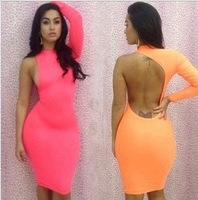 Hot-selling fashion sexy one shoulder slim charming hip women's party night dress neon color one-piece dress
