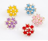 2014 New Fashion New Gold Small Flower Finger Ring Jewelry For Women