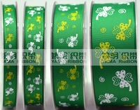 "Free Shipping 100 yards 1.5"" 38mm Four-leaf clover printed grosgrain ribbon hairbow wholesales ym AX312"