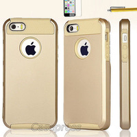 Newest Pen +Gold Shockproof Dirt Dust Proof Hard Matte Cover Case For iPhone 5 5S FREE SHIPPING