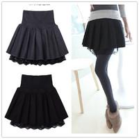 2014 female woolen short skirt bust skirt pleated lace skirt high waist solid color all-match basic skirt