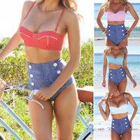 2014 Retro Swimwear Vintage High waisted denim bottoms Padded bustier top bikini set Free Shipping