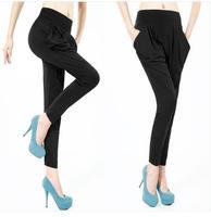Free Shipping In Stock Hotsale Wholesale Women's Summer Candy Multi-Color Casual Harem Pants Loose Leggings Elastic Waist Capris