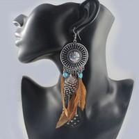 Bohemia Style Jewelry Gem Feather Rhinestone Tassel Dangle Earring Free Ship