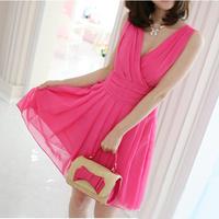 vestidos casual free shipping Women Summer Fashion Dresses Chiffon Ladies Elegant Deep V-neck Gowns Party Sexy Mini Dress