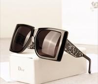 Carved hollow metal box retro unisex black fashion sunglasses F967