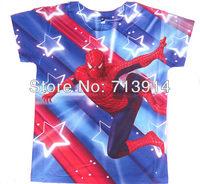 NEW 2014 hot sale spiderman clothes for children,3D superman boys shirt,short sleeve kids t shirt,cartoon children t shirt kids