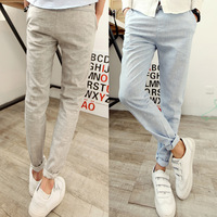 Screw belt linen trousers male men's clothing male casual pants 201k15p75