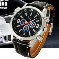 Military clock Luxury V6 Fashion Sport watches Leather Analog Quartz Hour Men Cuff sports Wrist Watch free shipping wholesale