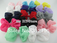 Free Shipping 50pcs/lot 4''  Baby Girls' Soft  Chiffon Hair Bows WITHOUT Clip,Solid Hairbow Handmade Accessories For Kids