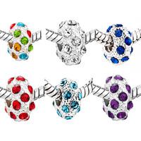2PCS/Lot  Silver Plated Czech Drill Rhinestone Beads Charms Big Hole Fit for Bracelet DIY Pandora Fashion Jewelry