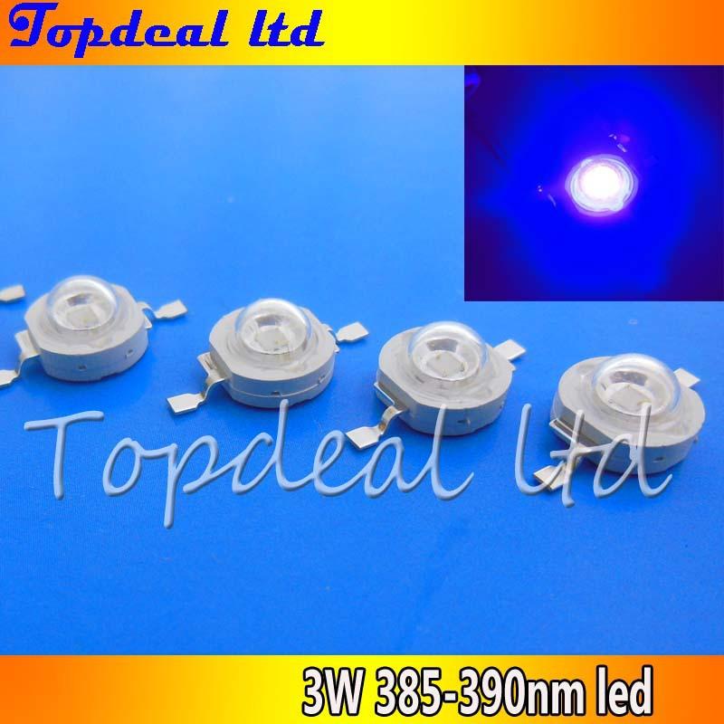 free shipping 10pcs 1W 3W UV Ultra Violet Hihg power LED 3Watt LED 385m -390nm led bead chip(China (Mainland))