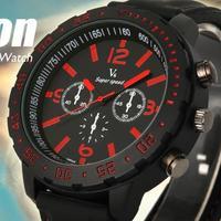 Stylish Gift Luxury Army Sport Quartz Clock Mens Boys Black Silicone Wrist Watch