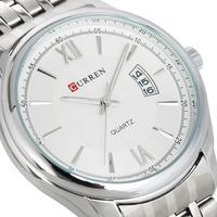 Men Stainless Steel Quartz Hour Date Dial Casual Simple Luxury Sport Wrist Watch