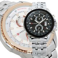2014 Man's Luxury Sport Stainless Steel Date Analog Dial Quartz Clock Men Wrist Watch