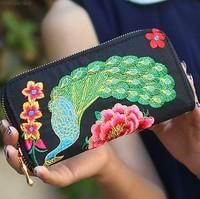 Vintage national trend peacock disk flowers hemp wallet handmade embroidery long design wallet