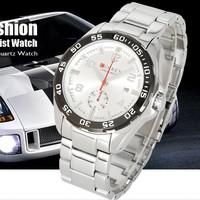 Date Metallic Silver Dial Luxury Sport Stainless Steel Quartz Mens Wrist Watch  FREE SHIPPING