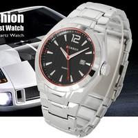 Analog Date Black Dial Stainless Steel Clock Luxury Sport Mens Cuff Watches water resistant Quartz Men's Wrist Watch