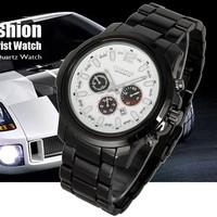 Brand New Date White Dial Black Steel Stylish Mens Man Quartz Wrist Watch Clock