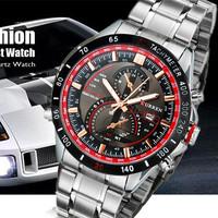 Curren 8149 Men's Round Dial Analog Watch with Calendar & Stainless Steel Strap (White & Black) M.