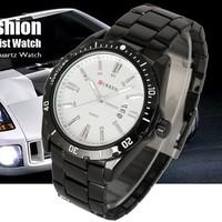 Date Show Black Stainless Steel Luxury Sport Quartz Date Hour Men Wrist Watch FREE SHIPPING