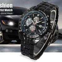 Hot selling cool Titanium fashion Black Style Steel Quartz Hour Date Clock Mens Wrist Watch Luxury Sport