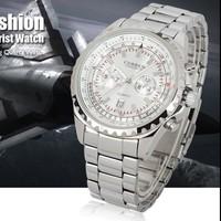 Quartz Analog Date Silver Dial Luxury Sport Stainless Steel Mens Wrist Watch