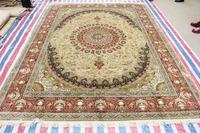 Oriental Double Knots  Handmade Carpet  Flower Design Persian Silk Rug And Carpet For Living Room Children Bedroom 9x12 On Sale