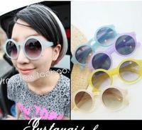 Vg circle anti-uv circular frame sunglasses jelly color quality ice cream transparent glasses