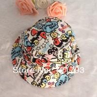 2014 new infant bracket fashion hat 100% cotton cloth doodle print breathable sunbonnet children bucket hats summer fashion hat