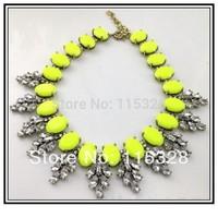 2014 Spot Sale Necklace & Pendants Big Brand Crystal Leaves Resin Choker jewelry Chunky Statement Necklace Women