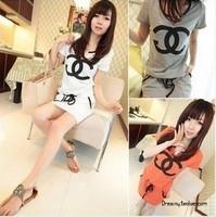 Hot Selling 2014 fashion recreational sports star summer drawstring low waist dress vners 3 colors women dress[240425]