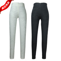 High quality Super slim 2014 spring elastic basic trousers lace high waist pants pencil pants