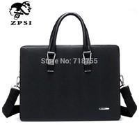 Fashion business male bag Cowhide handbags Double zipper large capacity briefcase Black men bags men's bags of genuine leather