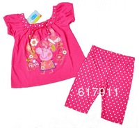 Free Shipping new 2014 girls summer clothing set peppa pig kids clothes sets baby girls sport suits short sleeve t-shirts +pants