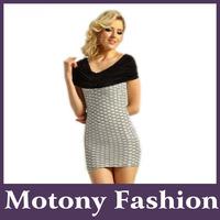 Motony Short Sleeve Sweetheart Neckline Fitted Splice Evening Mini Cocktail Dress