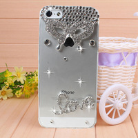 New Arrival Love Butterfly Mask Rhinestone case for iPhone 4 4s case for iPhone 5 5s case Mobile Border Protection Phone bag