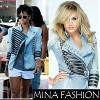 New Women 2014 ladies' Shrug jean jacket Military-Style Denim Jacket chain coat