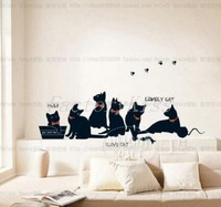 Free Shipping Black Cat Family Removable Wall Sticker Paper Mural Art Decal Home Decor [4003-047] 762 98