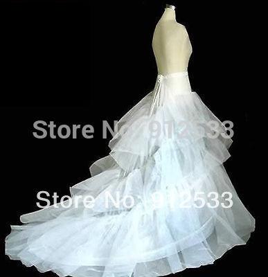 New A Line White 2 Hoop Bridal Wedding Dress Petticoat Crinoline With Chapel Train