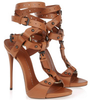 New 2014 Gladiator Sandals Sexy High Heels Ankle Strap Genuine Leather Summer Shoes Brand Women Pumps Zapatos Mujer