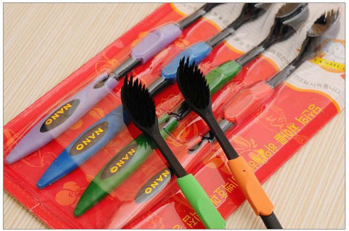 4 x Bamboo Charcoal Fiber Black NANO Superfine Soft Toothbrush Set(China (Mainland))