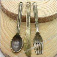 Mix 105pcs Vintage Charms Spoon Knife Fork Pendant Antique bronze Zinc Alloy Fit Bracelet Necklace DIY Metal Jewelry Findings