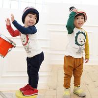 New 2014 Spring/Autumn Korean Lovely cartoon cotton children clothing set Casual baby clothing sets 2pcs suits 5pcs/lot 90-130cm