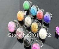 20sets/lot 20X20MM/25X25MM Mushroom-shaped Bubble Liquid Rings Glass Globe Bubble Vial rings Liquid Metal Mesh Ring