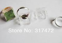 20sets/lot 20*20mm  Square Liquid Rings Glass Globe Bubble Vial rings Glass Globe Bottle Rings Ball Glass Cover Vials