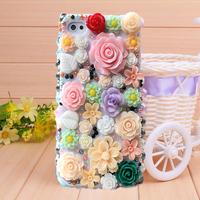 New Luxurious Flower Garden Rhinestone Case Cover for iPhone 4 4s case for iPhone 5 5s case Mobile Border Protection Phone bag